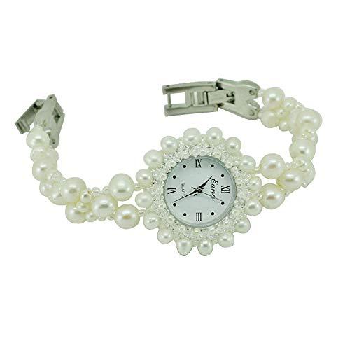 SJXIN Schöne und stilvolle Armbanduhr, DIY Perlen Quarz Uhr weiße Perle Armband Uhr Damenuhr Modeuhren (Color : 1)