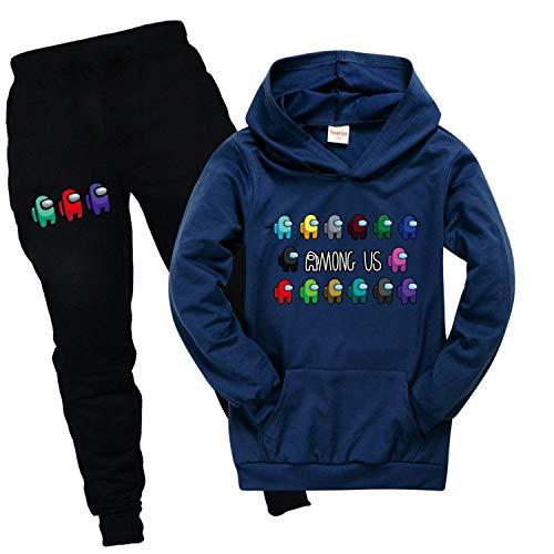 Entre nosotros, 3-16 años Game Boy Pullover Sudadera con capucha de manga larga con capucha Set con pantalones chándal para niñas sin bolas, sin decoloración de color, sin deformación