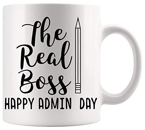 Taza de Boss Manager Leader Cup The Real Boss Feliz día de los profesionales administrativos Camisa Tazas de 11 oz Tazas