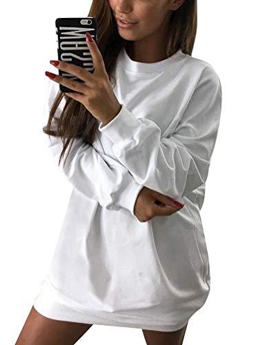 Minetom Damen Langarm Sweatshirt Herbst Winter Lange Pullover Einfarbig Pulli Sexy Oversize Tunika Mini Kleid Casual Lose Rundhals Tops Weiß DE 42