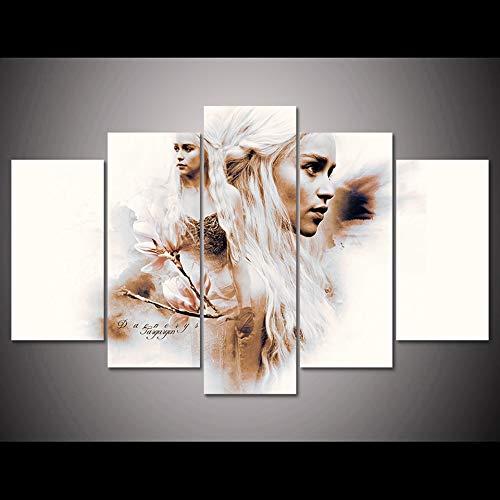 Zhuhuimin HD druk schilderij kunst afbeelding 5 power bordspel muur poster modern meisje karakter familie decoratie woonkamer L-30x40 30x60 30x80cm Geen lijst