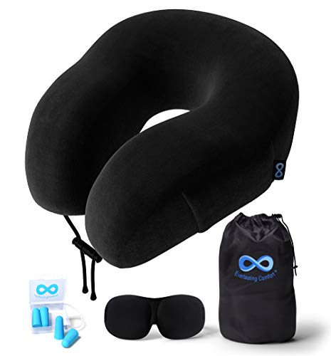 Everlasting Comfort Travel Pillow - 100% Pure Memory Foam Neck Pillow - Includes...