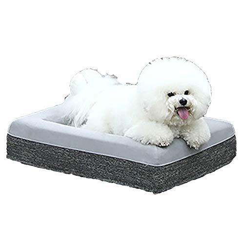 Cama grande de espuma viscoelástica para mascotas, cojín portátil para cama para perros, cama suave para gatos y perros. Con forro exterior impermeable, fácil de limpiar 2 tallas 3 colores,Gris,L