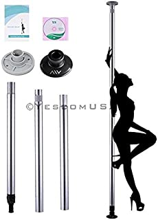 50mm Portable Removable Stripper Dance Dancing Pole Steel Silver with DVD & Carrying Bag Sexy Fitness Sport Exercise Club Party Pub Home