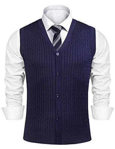 iClosam Chaleco de suéter para Hombre Casual Camiseta sin Mangas con Cuello en V Comfort Fit de algodón de Punto