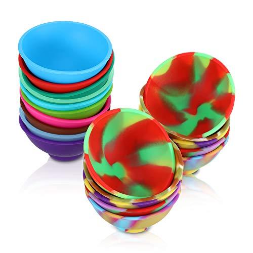 20 Pieces Mini Silicone Pinch Bowls, 1.75 Ounce Prep and Serve Bowls, Multicolor