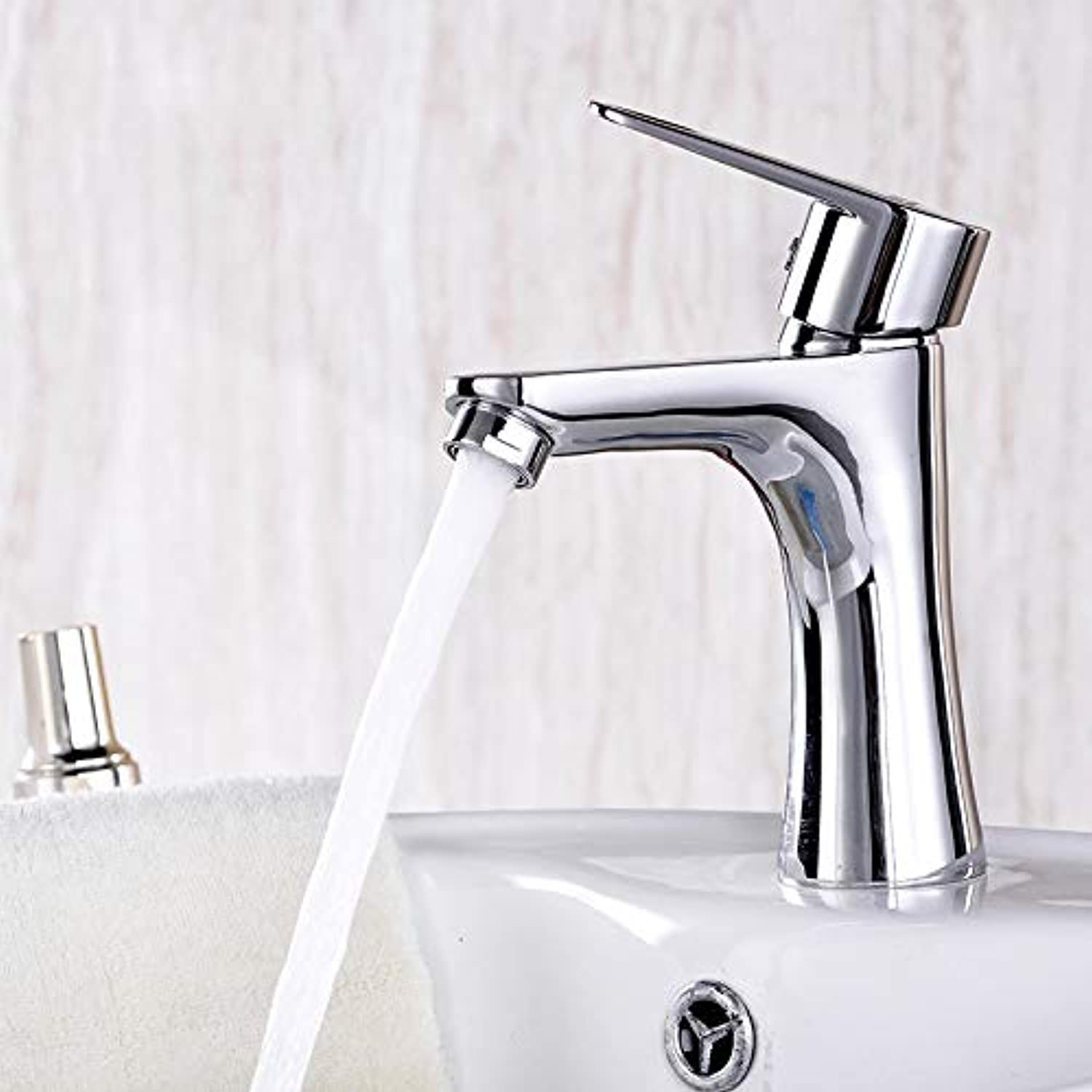 Bathroom Sink Basin Lever Mixer Tap Single-Hole Washbasin Faucet Single-Hole Washbasin Faucet Cool-Hot Mixed Water Kitchen Bathroom Basin Single-Hole