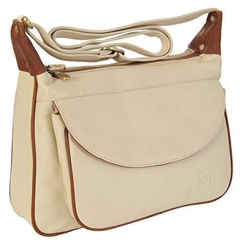 Gigi Othello Leder Schulter Handtasche Umhängetasche 22-17 Elfenbein/Mittelhoch Brown, L