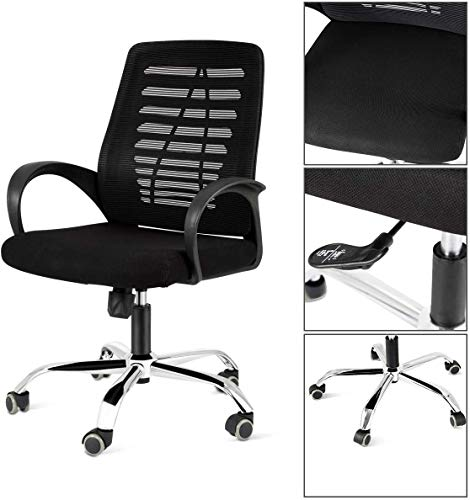 DOSLEEPS Office Chair with Arms, Comfortable Ergonomic Medium Mesh Back Support Cushion Seat for Home Office Desk, Max Weight Capacity 150kg, Black