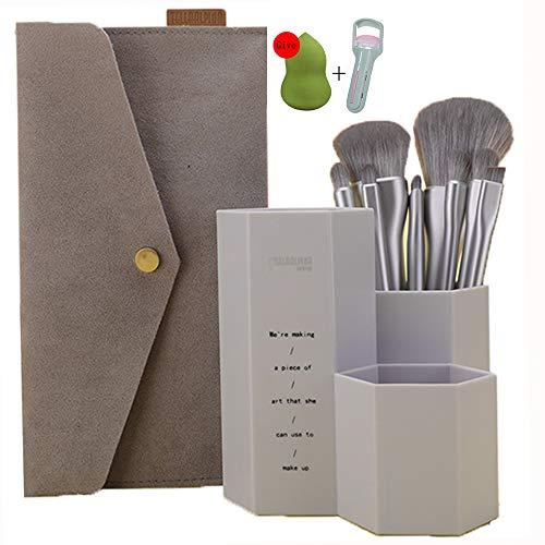 Pinceaux Maquillage Cosmétique Professionnel,Conception 8Pcs Kit Macarons Cosmétique Brush,Avec Tube De Brosse+Trousse De Maquillage,Bleu