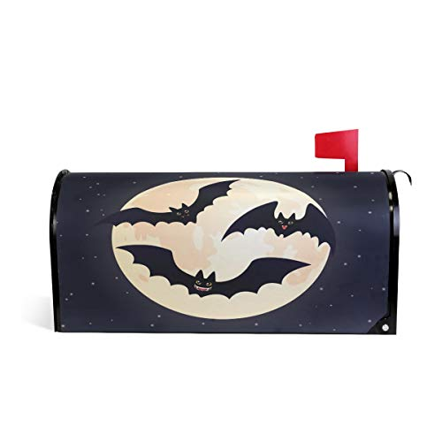 ZZKKO Halloween Moon Night Bat Magnetic Mailbox Cover Wrap Post Letter Box Cover for Outside Garden Home Decor Large Size 25.5 x 20.8 Inch