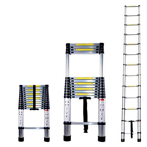Escalera Telescopica Escalera Plegable Aluminio 3.8m Antideslizantes Multifunción Portátil Extensible Carga Máxima...