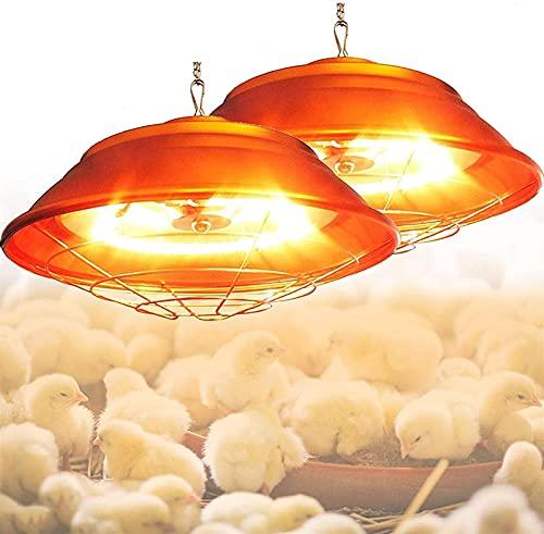 MARHD Lámpara de calor para pollitos, Lámpara de calefacción halógena para granjas de cría, Lámparas de calor para aves de corral, temperatura ajustable 200W-400W, Lámpara de calefacción para la prese