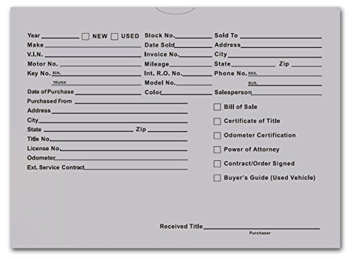 Printed Vehicle Deal Envelopes 9x12 Deal Jackets (100 Shrink Wrapped) (Gray)
