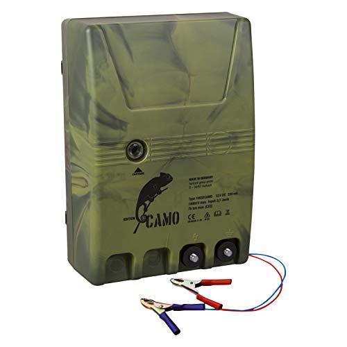 horizont Weidezaungerät 12V Camouflage, Akkugerät, 4,8 Joule, Weidezaungerät Batterie, Netzgerät 12V, ideal zum Einzäunen und zur Abwehr großer Tiere, Elektrozaun