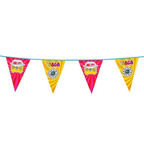 Boland 44501 - Wimpelkette Hippie, Länge 6 m, Flower Power, Bulli, Peace, Hängedekoration, Girlande, Geburtstag, Partydekoration, Partygeschirr, Motto Party, Karneval