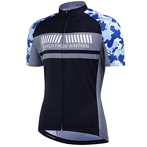 Fietskleding Fietsshirt met Korte Mouwen, Fietsshirt Heren Blauw, Fietsset Buitensporten Fietskleding Pak met Sneldrogend Fietsshirt voor Dragen in de Zomer(L)