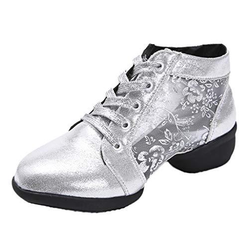 Damen Schuhe,Sommer Frauen Pumps Glänzend Mesh Party Schuhe Damen Casual Wild Sandalen mit Glänzend Spitze Mesh Atmungsaktiv Tanzschuhe Römersandalen (34-42) TWBB