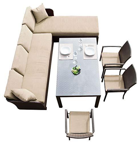 Garten Sitzgruppe mit Eckbank Lounge Esstisch Poly-Rattan (Set Ecke Links)