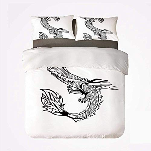 Zozun Duvet Cover Set Japanese Dragon Various 3Bedding Set,Ancient Far Eastern Culture Esoteric Magical Monster Symbolic Thai Style Decorative for Home