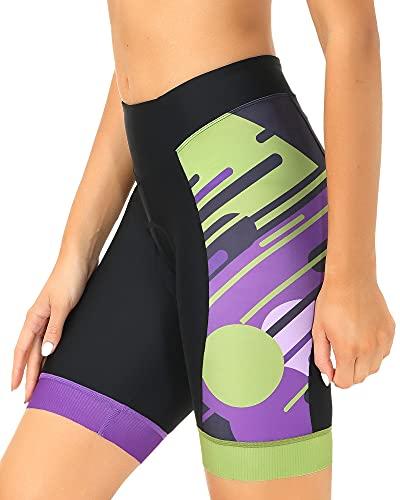DEALYORK Pantalones cortos de ciclismo para mujer, acolchados con bolsillos, pantalones cortos de bicicleta para mujer, cintura alta, ergonómicos - morado - XXL