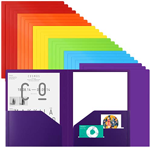 EOOUT 24pcs Plastic Pocket Folder, Heavy Duty Folders for Office and School, Letter Size, 6 Assorted Color with 36pcs Category Labels
