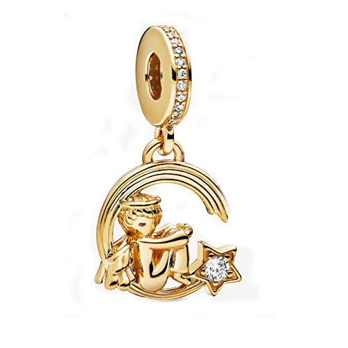 Pendentif en Argent 925 pour Femme,Acatène Romantique Fashion Cute Golden Angel Et Étoile Filante Pendentif De Forme pour Les Dames Bijoux Accessory Boutique De Cadeau d'anniversaire Cadeau De N