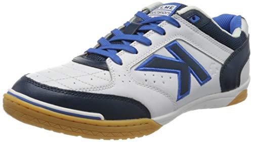 Kelme Precision Leather, Zapatillas de fútbol Sala para Hombre, Blanco (Blanco Y Azul 172), 40 EU