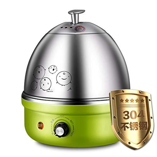 GUCL Rapid-Ei-Kocher, mit Auto-Abschaltung bis zu 7 Eier für Soft Medium Hard Boiled Pochierte Voll Edelstahl elektrische Eierkocher,Grün
