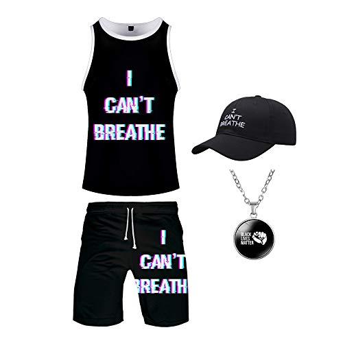 Herren Shirt, I Cant Breathe T-Shirt, Freiheit Gleichheit Gerechtigkeit T-Shirt, Polizei Protest-Hemd Sommer-Shorts Anzug Set,Clothes f,XL