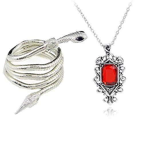 YouU 2 Piezas City of Bones Isabelle Lightwood's Electrum Whip Serpent Snake Bracelet and Necklace Set con Caja de Almacenamiento