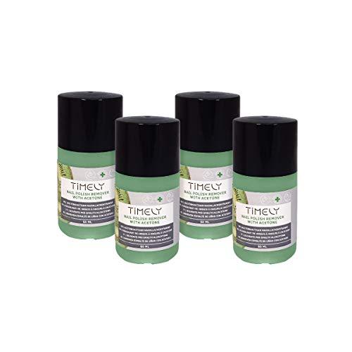 Timely Snelle nagellakverwijderaar op basis van aceton met kiwigeur, kleine afmetingen (inhoud verpakking 4 x 60 ml)