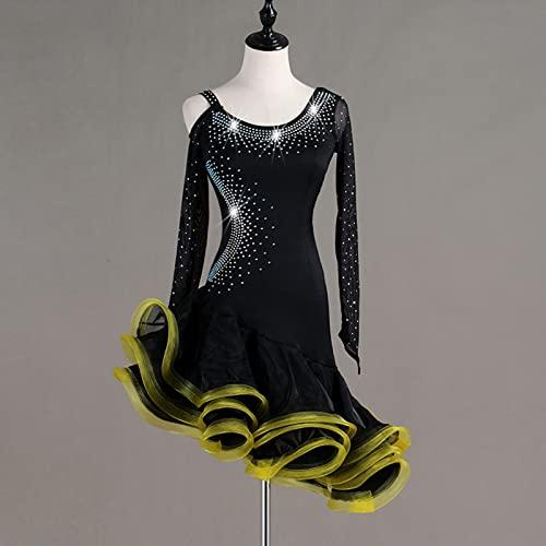 Vestido De Baile Latino Sexy Latin Dance Rhinestone Remential Vestido Tango Salsa Dance Disfraz,Amarillo,2XLarge