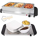 Netagon Compact 200W 3L Electric Buffet Server 3 Warming Trays with Lids & Hot Plate Food Warmer