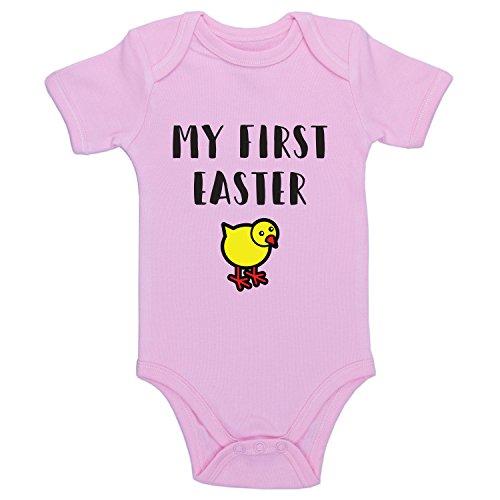 Promini Body humoristique pour bébé Inscription My First Easter - Rose - 9 mois
