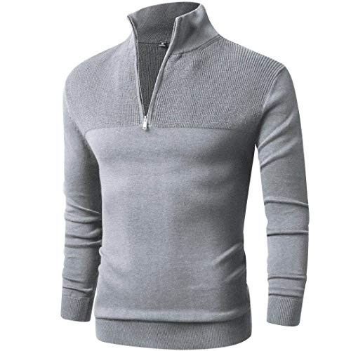 LTIFONE Men Sweater,Slim Zipper,Polo Sweater Casual Long Sleeve and Pullover with Ribbing Edge(Grey,L)