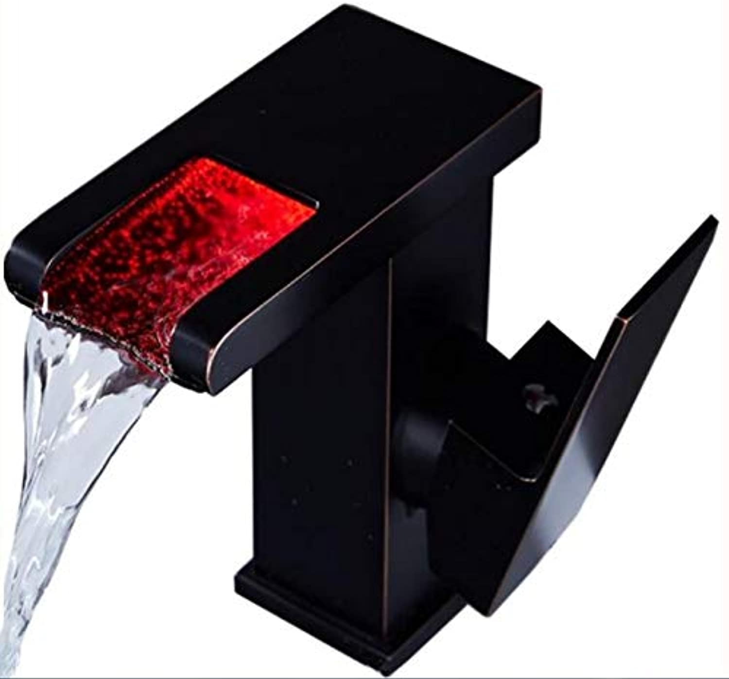 Mkkwp Basin Faucet Brass Hot and Cold European American Retro Waterfall with Light Glowing Above Counter Basin Led Tap