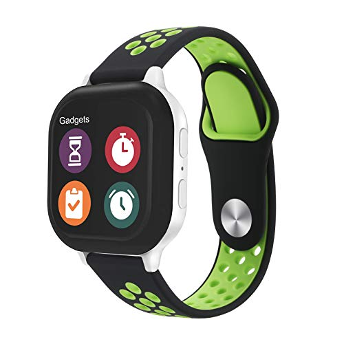 Replacement Kids Band for Gizmo Watch 2/1-20mm Breathable Soft Silicone Band Compatible with Verizon Gizmo Watch 2 / Gizmo Watch 1, Black Green