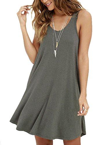 MOLERANI Women's Casual Swing Simple T-shirt Loose Dress, Medium,  Grey