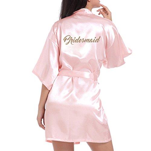 hibote Hochzeit Brautjungfer Robe Short Kimono Robe Nacht Robe Bademantel Fashion Dressing Gown für Frauen Hellrosa S