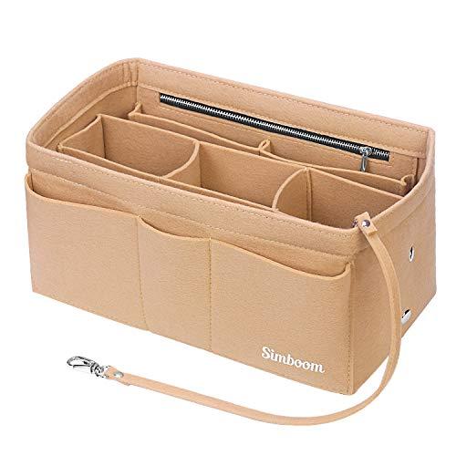 Simboom Organizador de Bolso de Fieltro, Organizador Bolso Insertar para iPad Mini, Cosméticos, Billetera, Perfume, Llave (Beige, M)