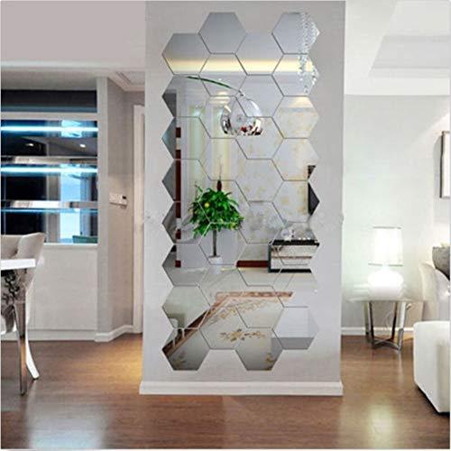 ZWQASP 12pcs Acrylic Silver 3D Hexagonal Mirror Wall Stickers Home Decor Removable Hotsale