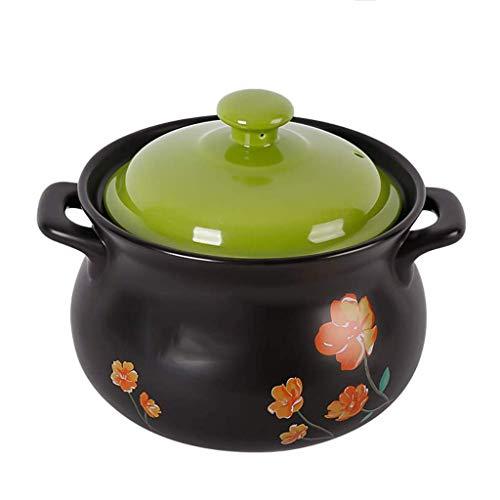 YLJYJ Olla de cerámica para Avena - Cazuela de Plato Negro Redondo de cerámica/Olla de Barro/Olla de Barro/Utensilios de Cocina de cerámica (Color: A) (Exterior)