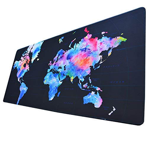 Extended Gaming Mouse Pad Colorful World Map Portable Waterproof Professional Large Mousepad Keyboard Pad Non-Slip Rubber Base Desk Pad Mouse Mat for Keyboard and Mouse 15.7�35.4inches