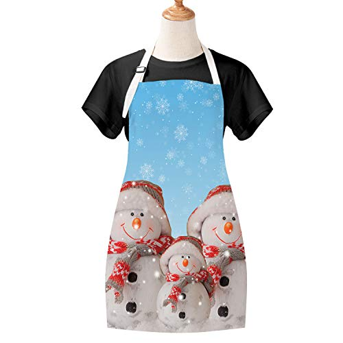 Claswcalor Christmas Apron Smiling Snowman Family Cooking Aprons Xmas Hats Snowflake Waterproof Baking Apron for Christmas, Party, Celebration Gift, Long Ties, Adjustable Neck Strap