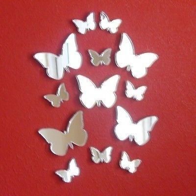 décoratifs Mini Papillon Grand Ailes miroirs, Acrylique, Silver, Pack of 19-1 12cm, 5 6cm, 5 4cm, 8 2cm