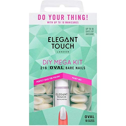 Elegant Touch - DIY Mega Kit - Oval Bare Nails (216 Nails (10 Sizes) & 2 x Glue) (4009043)