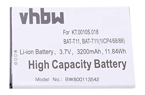 vhbw Li-Ion Akku 3200mAh (3.8V) für Handy Smartphone Telefon Acer Liquid Z630, Z630S (T04) wie KT.0010S.018, BAT-T11(1ICP4/68/88)