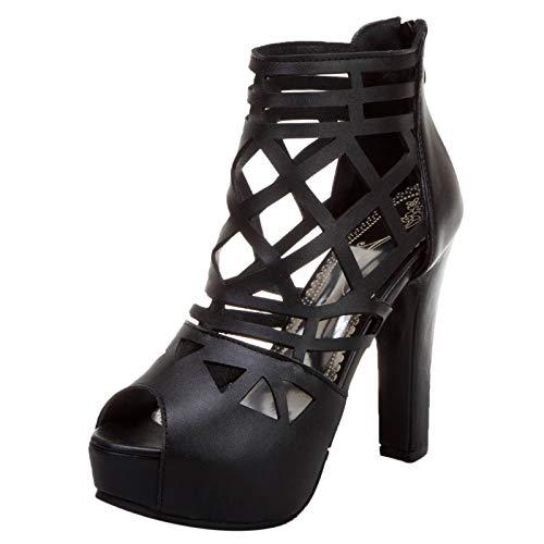 KutuKowi Mujer Elegant Tacón Alto Sandalias Peep Toe Verano Zapatos Plataforma Cremallera Sandalias Hueco Gladiador Zapatos Black Numero 39 Asiática