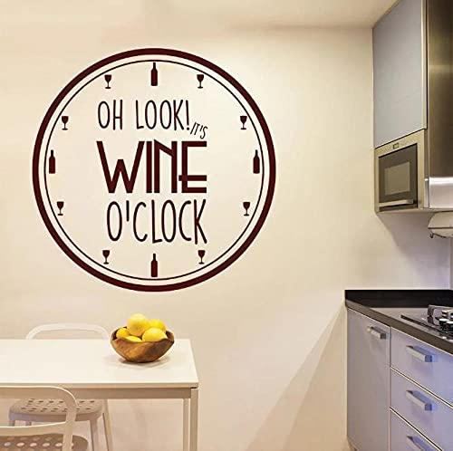 Faucet oersing It's Wine O'Clock Vinilo Pared Pegatina Cocina Sujetador decoración vinos patrón extraíble WAL Decal Reloj diseño hogar Interior Arte 42x42cm